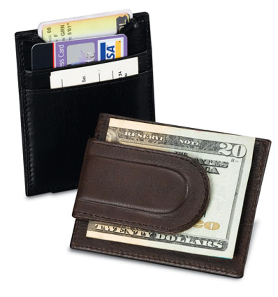 LEATHER Card Case with Magnetic Money Clip Black